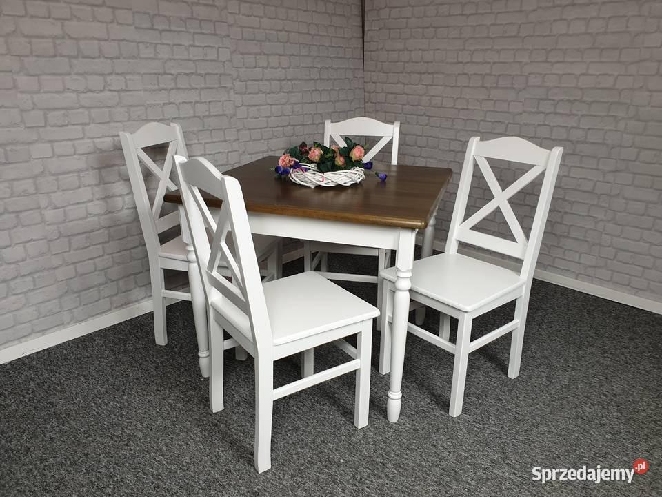 Stół 70x70 drewniany prowansalski nowy toczony biały
