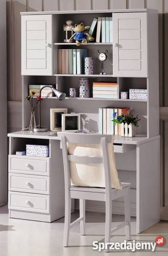 Białe biurko z szufladami i nadstawką proste lub narożne