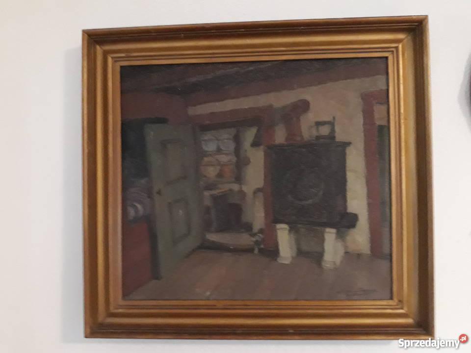 W Kuchni Stary Obraz Olejny W Ramie 42x46cm