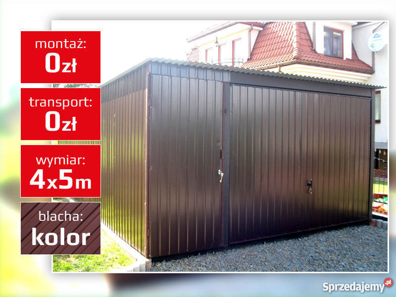 Garaż blaszany 4x5 4x6 blacha kolor bramy uchylne do góry