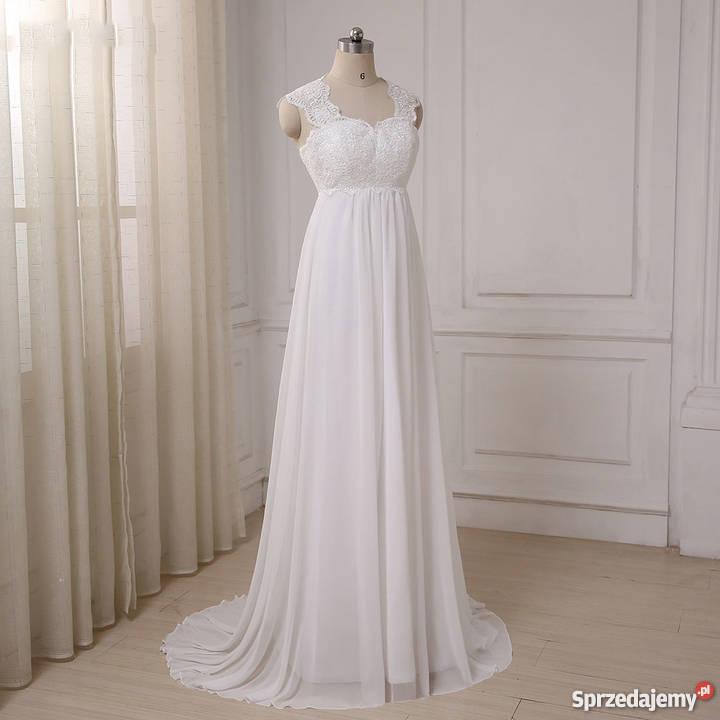 e5903ef144 Suknia ślubna ciążowa wesele cywilny 36 S 38 M