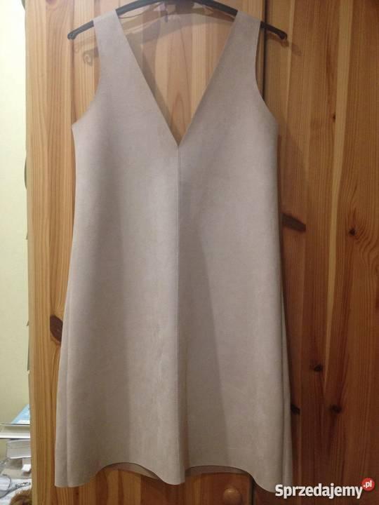 Zara sukienka sztuczny zamsz beżowa rozmiar S