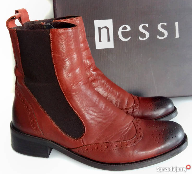 e6be5491053ff Damskie buty botki sztyblety skóra brąz koniak nessi 37 38 ...