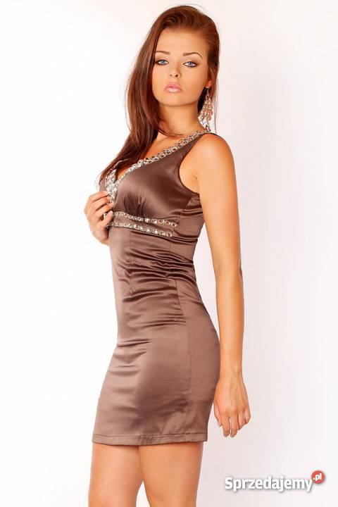 4c0036558f jokastyl  Sukienka z cyrkoniami brązowa L WYPRZEDAŻ % Mykanów ...
