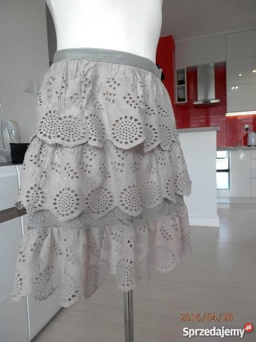 Spódnica Topshop Bawełniana Haft Koronka Nude Boho Etno 40