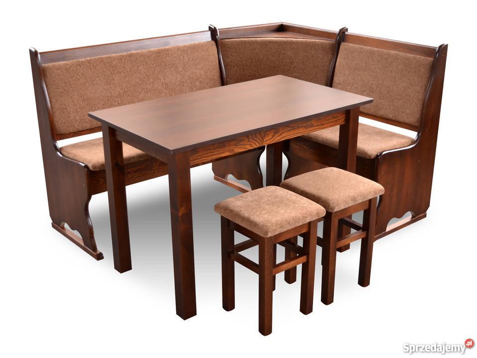 Narożnik Kuchenny, ława narożna, zestaw stół taborety drewno
