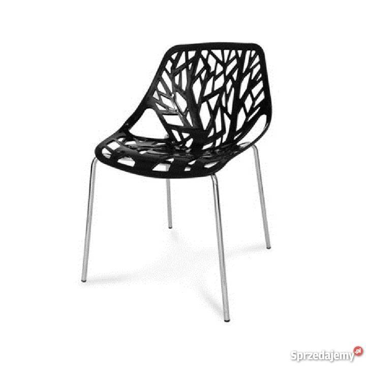 Krzesło czarne ażurowe nowoczesne Tree II