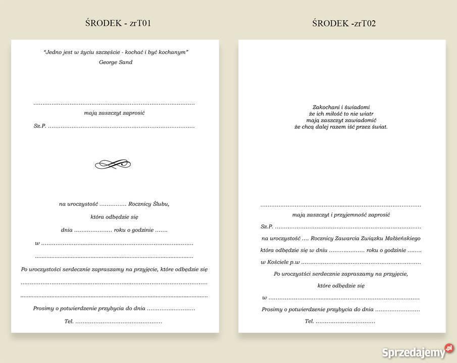 Zaproszenia na 25 40 50 60 Rocznicę Ślubu Dąbrowa Górnicza