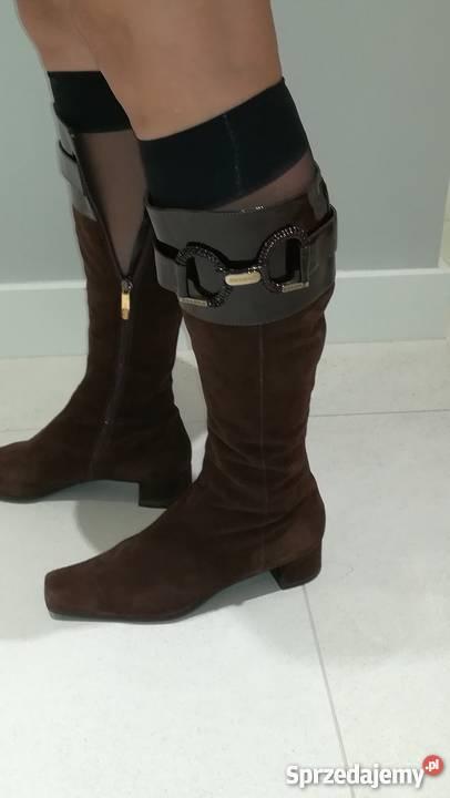 41d8699e ESSERE włoskie buty kozaki buty skórzane brązowy/beżowy mazowieckie Warszawa