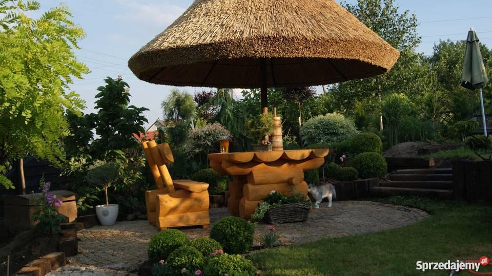 Parasol z trzciny pod strzechą ze strzechy do Architektura ogrodowa Konin