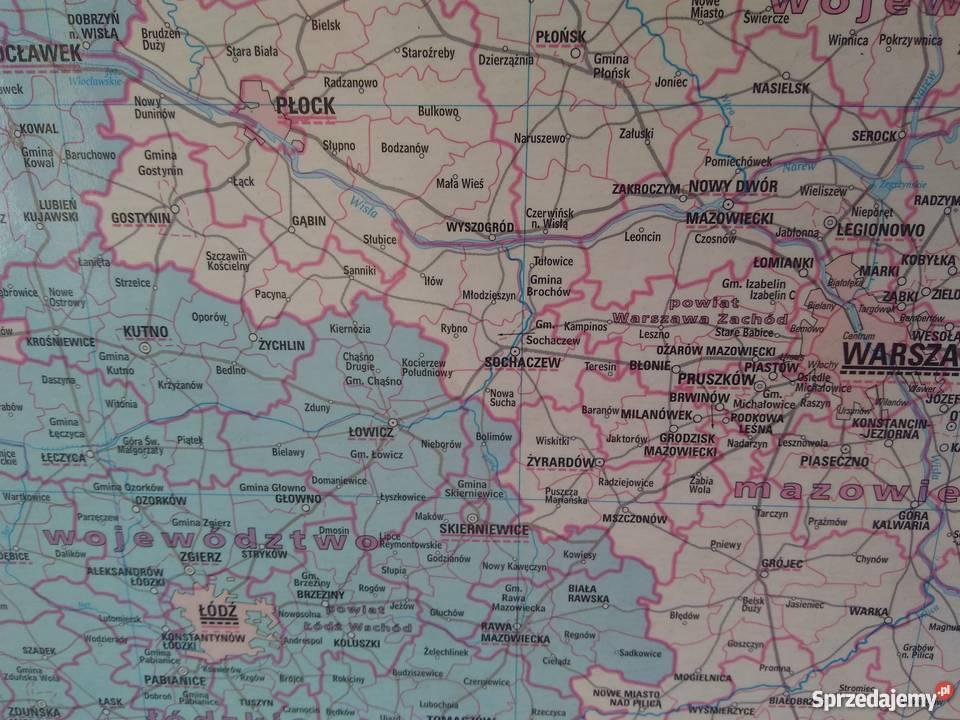 Administracyjna Mapa Polski 100x90cm Drewniana Rama Warszawa