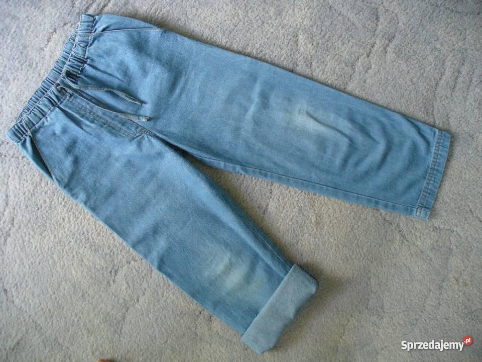 4459816334d065 Cienkie luźne jeansy rosną z dzieckiem na gumce 128 / 134 dżinsy 5 ...
