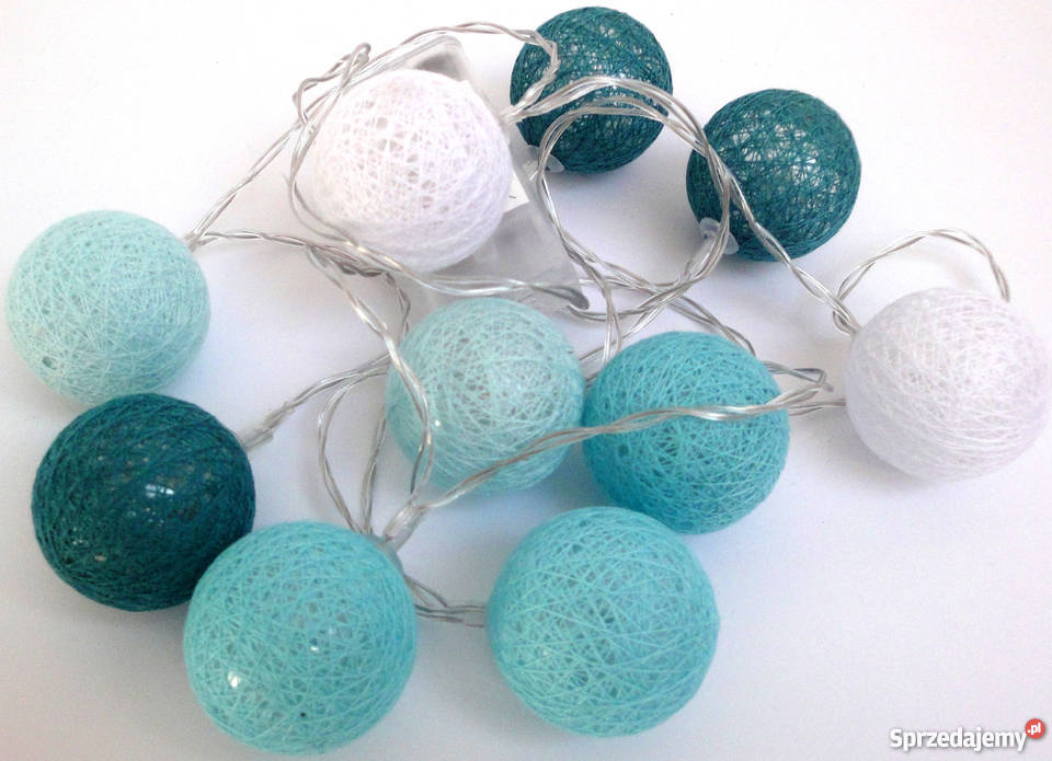 Kule Bawełniane Led Cotton Balls 10szt Miętowe