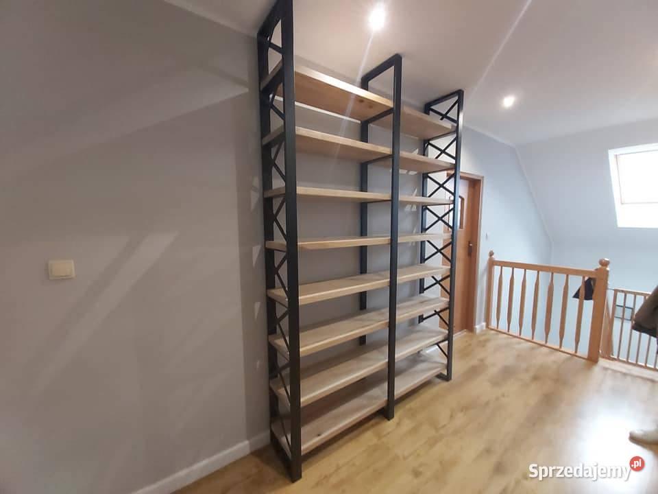 Regał loftowy, metalowy, dębowe półki, na wymiar.