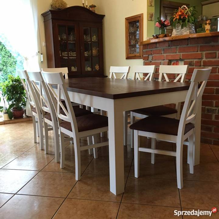 Zestaw Do Jadalni Stół 90170250 Krzesła Białe 8 Szt Tani