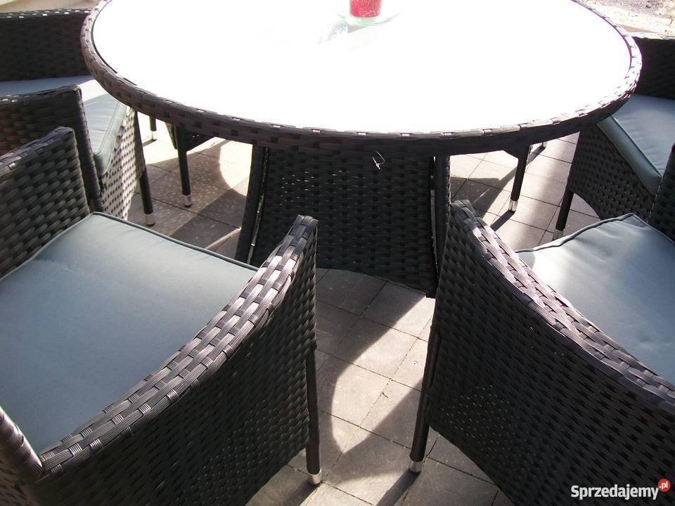 Meble ogrodowe 61 rattan fotel czarny