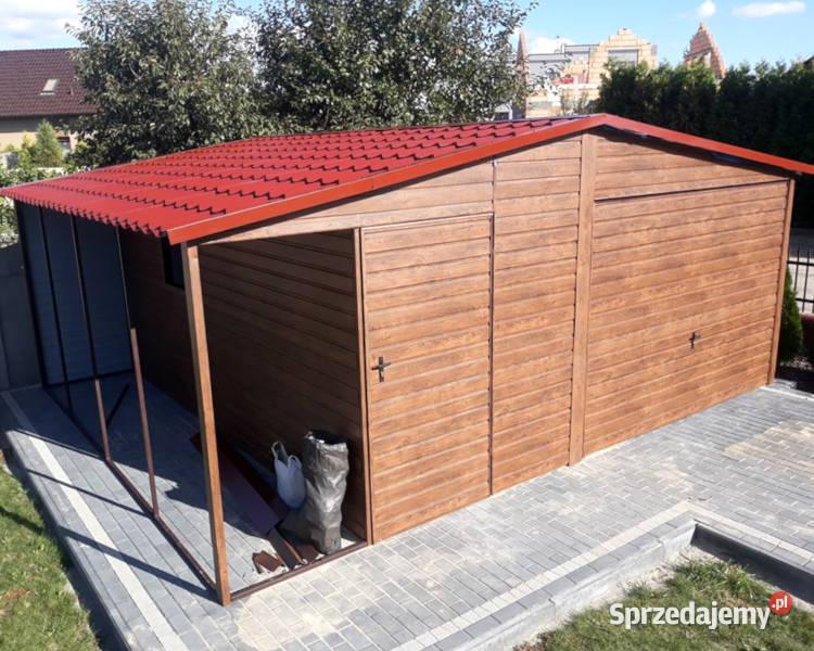 Garaż blaszany 4x5+1m Drewnopodobny Garaże Blaszane Wiaty