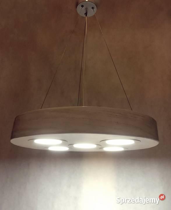 Lampa wisząca led drewniana loft modern żyrandol ledowy