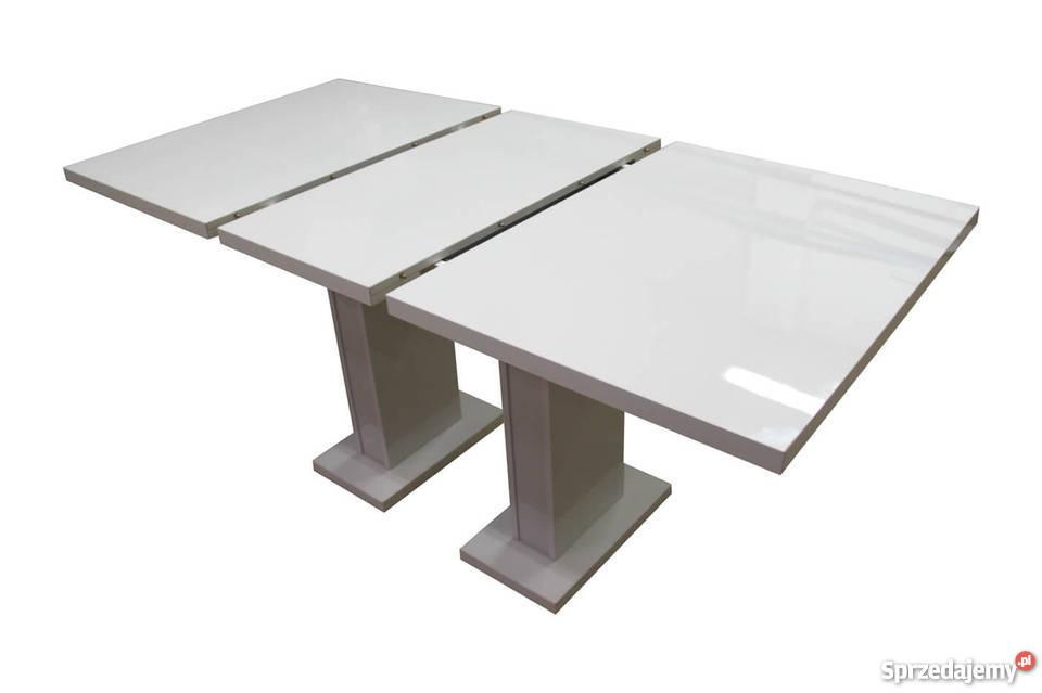 Nowoczesny Stół Rozkładany Biały Czarny Wysoki Połysk 80120