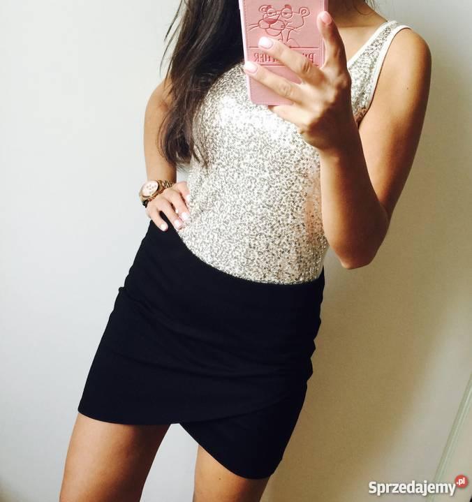 Spódnica nakładana spódniczka mini M czarna elegancka galowa