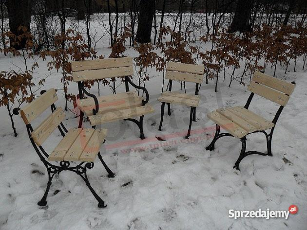 Krzesło żeliwne W3 KRÓLEWSKIE z drewnianym siedz czarny Kraków