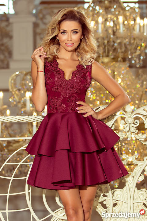 4695d2a9 jokastyl Alexis sukienka pianka koronka XS S M L bordowa