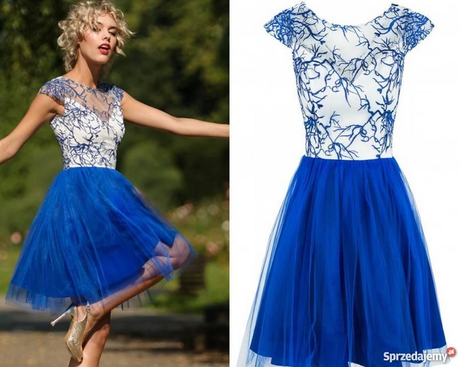 d6708882ed Super Sukienka tiulowa z haftowaną koronką niebieska S j.NOWA Klimkówka   SY-02