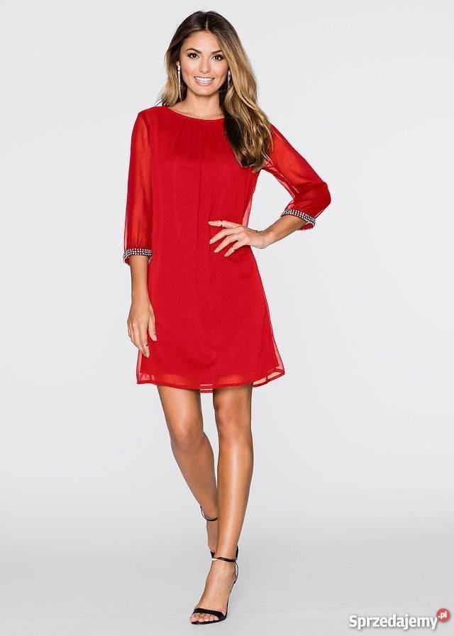 B.p.c. czerwona sukienka szyfonowa rękawy 40