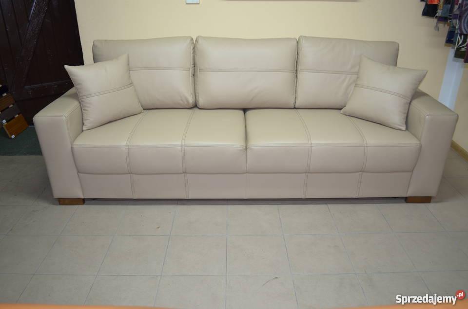 Kanapa sofa rozkładana prawdziwa skóra naturalna Gniewkowo