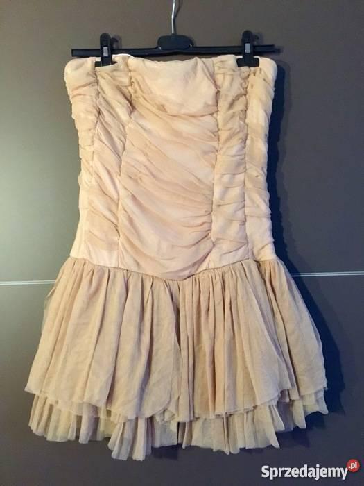 da746ecf69 Beżowa sukienka tiul Bierutów - Sprzedajemy.pl