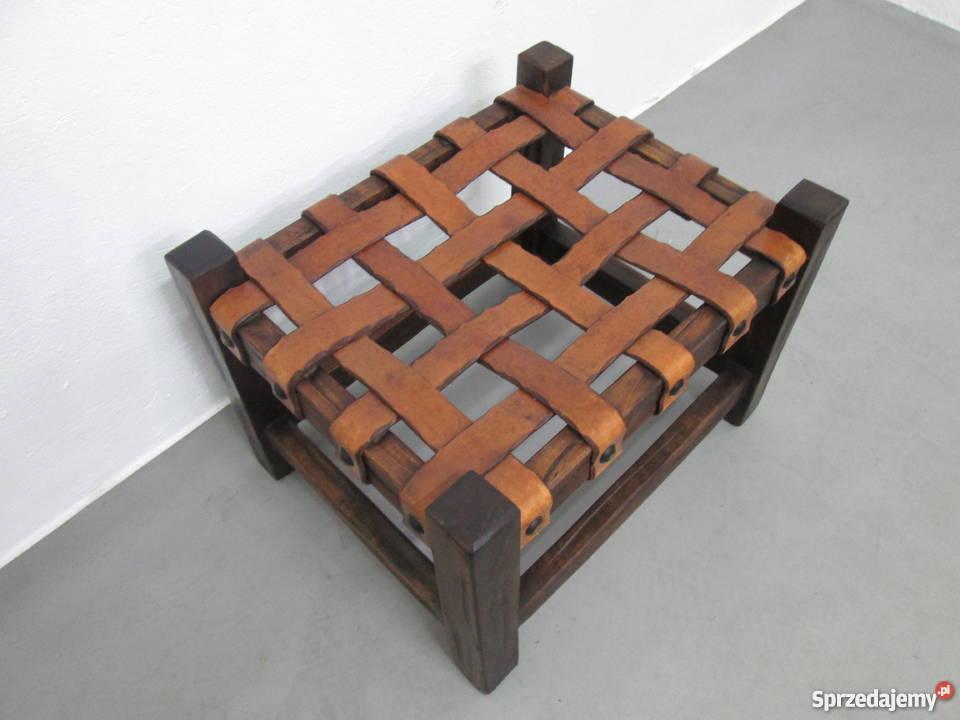 Drewniany Designerski podnóżek Skóra puff Loft Częstochowa