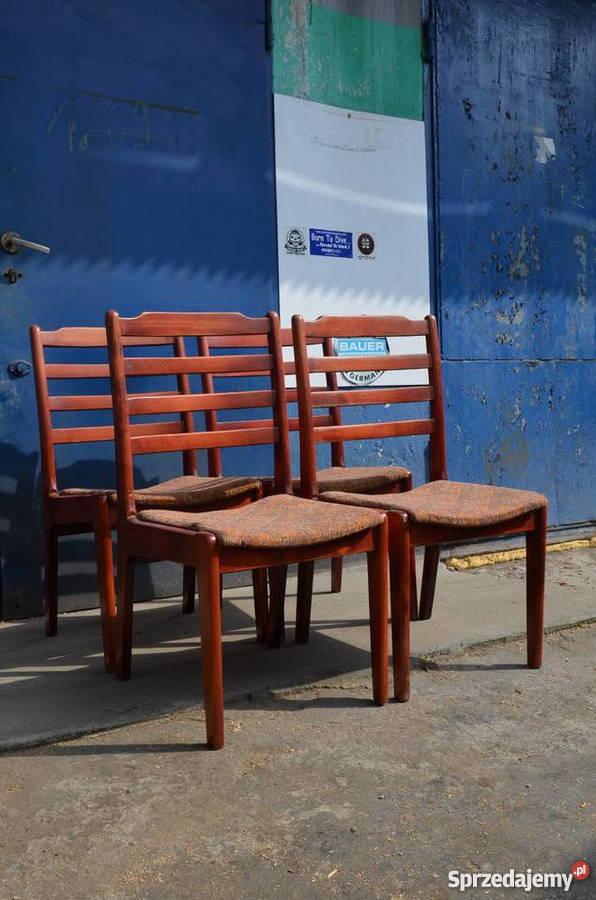 Krzesła drewniane tapicerowane,Krzesło PRL 4 szt, Meble PRL