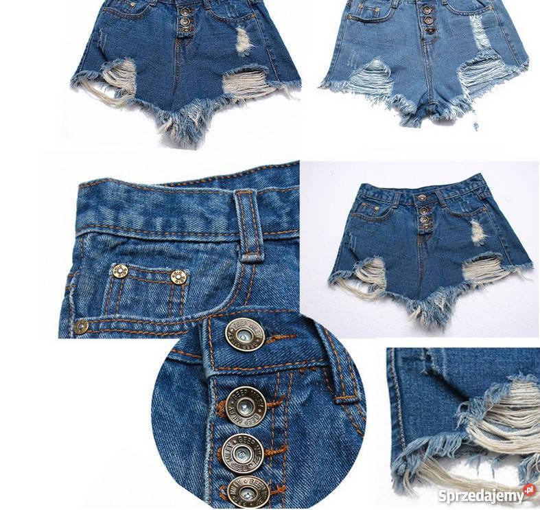 6c630030 krótkie szorty spodenki jeansowe wysoki stan 36 s