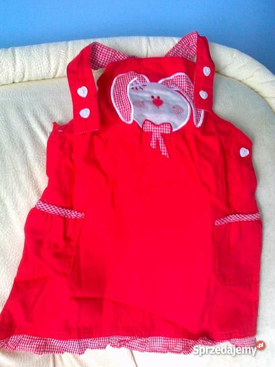 Sukienka czerwona na szelkach COCO CLUB rozm.68