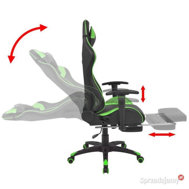 vidaXL Regulowane krzesło biurowe z podnóżkiem, zielone w