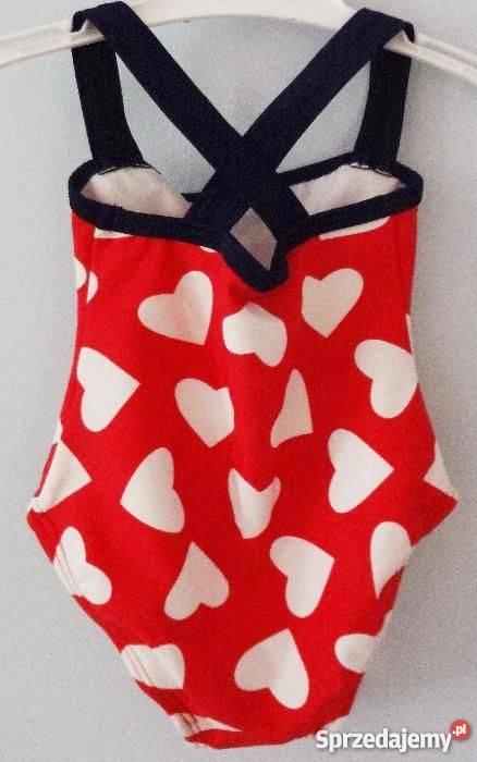aea9a06024 Kostium strój kąpielowy w serduszka z kokardą 62 68 dziewczy ...