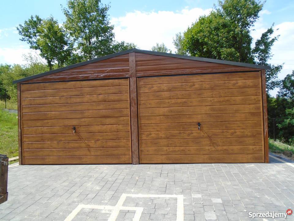 Garaż blaszany 6x6 7x5 blacha orzech złoty dąb