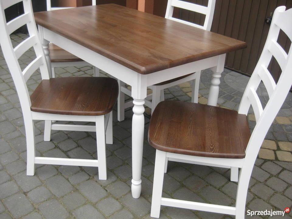 Bardzo dobryFantastyczny Prowansja stół biały prowansalski 110x70 nowy drewniany Gdańsk KH99