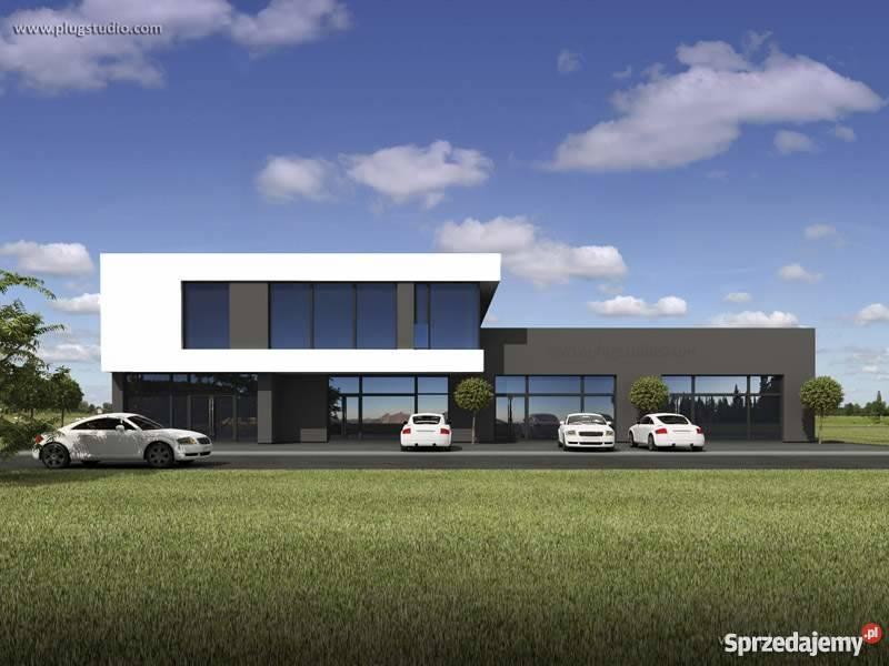 Projekt nowoczesnego budynku usługowego pawilonu sklepu