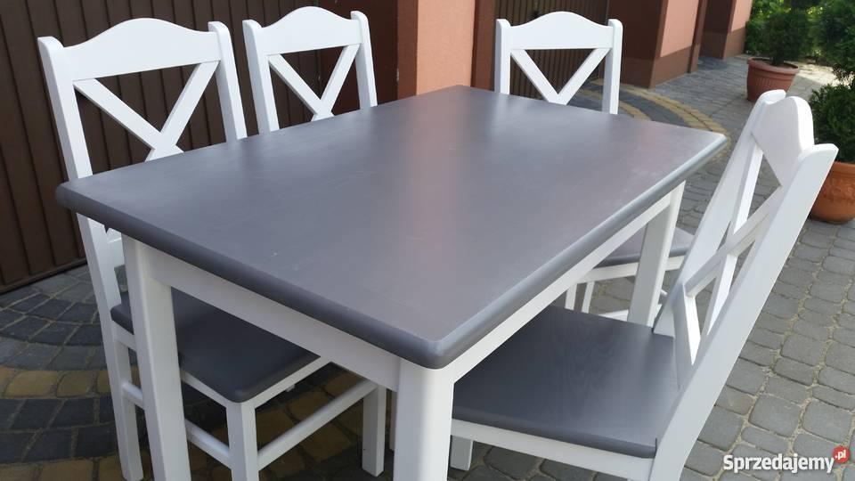 Stół prowansalski 110x70 nowy modny biały szary