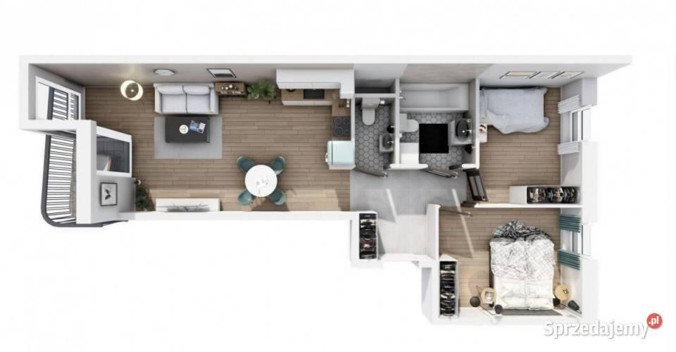 Mieszkanie na sprzedaż 58.81m2 3 pokoje Warszawa