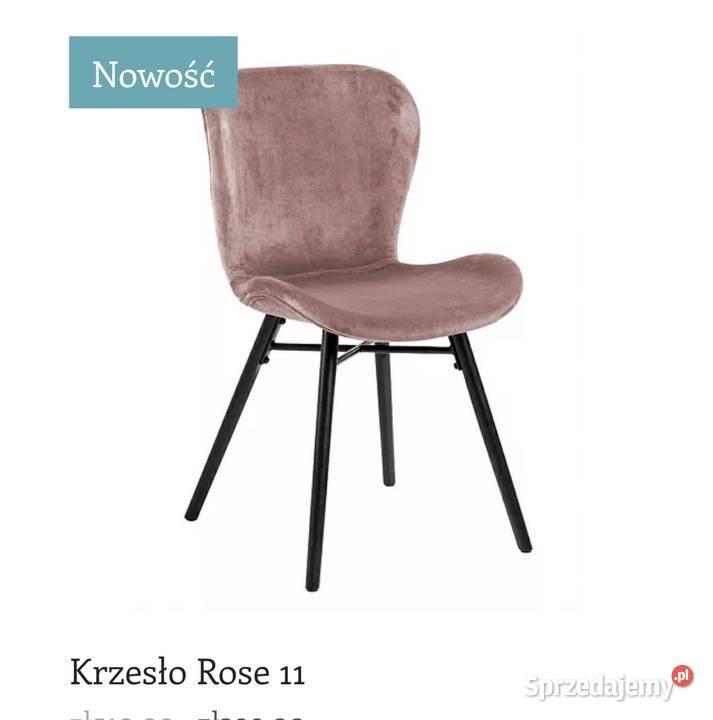 Krzesło z weluru nowoczesne blady róż