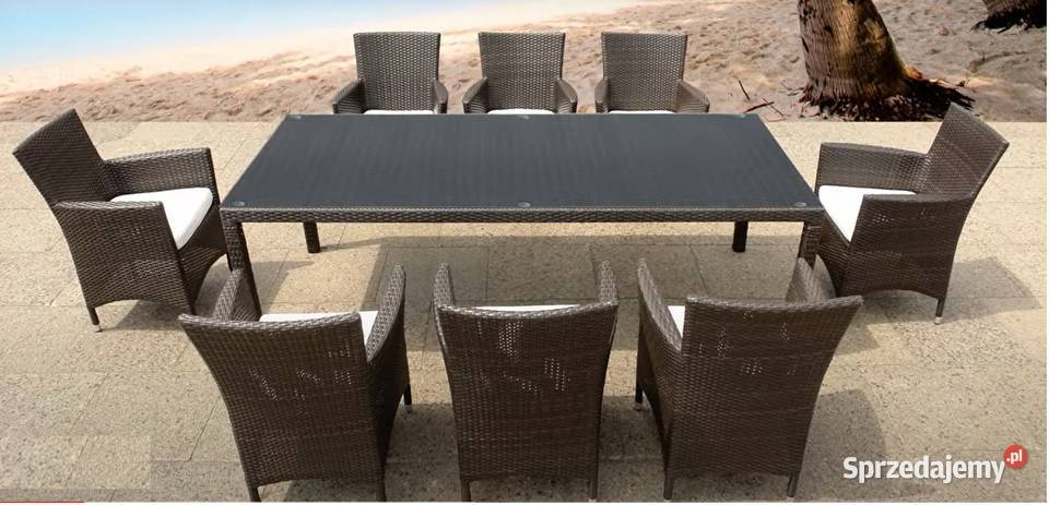 Meble ogrodowe Technorattan Fotele 8 osób + stół Brąz