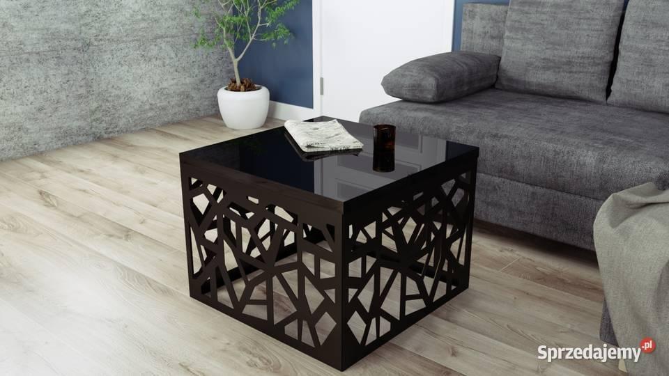 Nowoczesny stolik kawowy -biały i czarny połysk