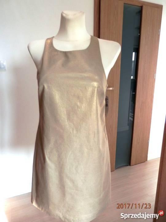 Sukienka Zara Złota Beżowa Nude Dopasowana Imprezowa