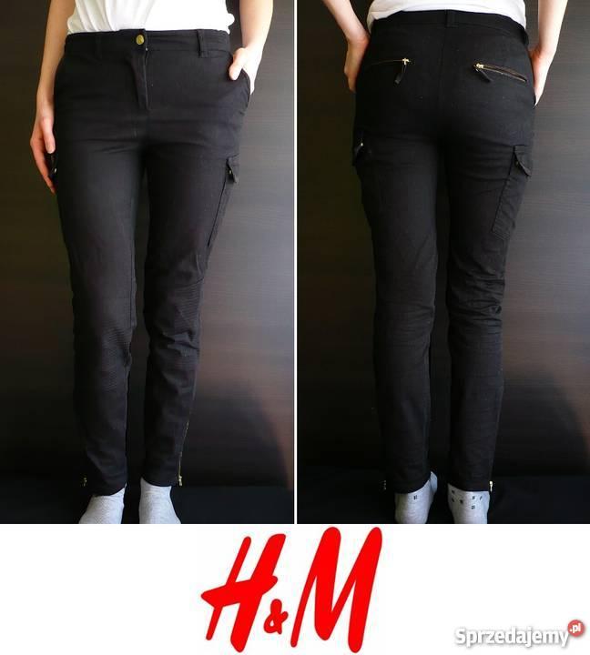 Czarne spodnie rurki kieszenie po bokach H&m xs 34 bojówki