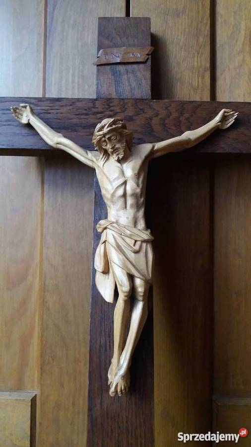 Rzeźba w drewnie krzyż drewniany dewocjonalia Dekoracje i ozdoby Wyposażenie wnętrz małopolskie Lubień