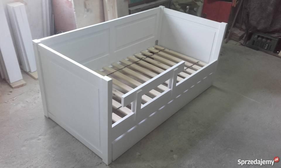 Łóżko, drewniane białe sosnowe 80x160