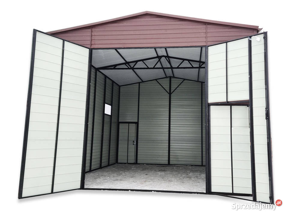 Hala garażowa wysoka 5x7 pod podnośnik wys. 4 m dwuspadowy