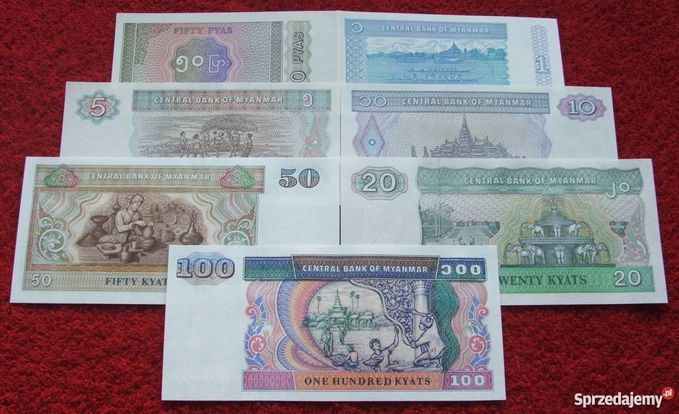 MYANMAR 2 Kolekcjonerskie Banknoty Zestaw 7 śląskie